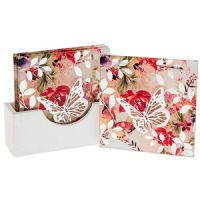 Pink Blush Floral and Butterfly Glass Coaster Set of 4 Coasters in White Wood Stand